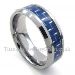Mens Tungsten Blue Carbon Ring