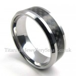 Mens Tungsten Black Carbon Ring