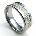 Mens Tungsten Carbon Ring