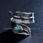 Titanium Mens Retro Feather-shaped Ring with Turquoise