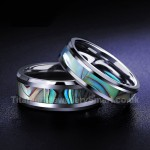 Titanium Mens Ring with Shell