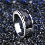 Titanium Mens Ring with Crystal