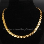 Titanium Golden Mens Necklace