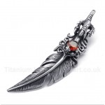 Titanium Red Crystal Feather Pendant with Free Chain