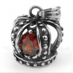 Titanium Red Crystal Crown Pendant with Free Chain