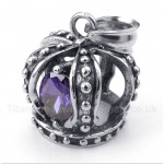Titanium Purple Crystal Crown Pendant with Free Chain