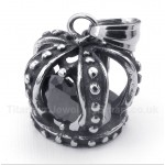 Titanium Black Crystal Crown Pendant with Free Chain
