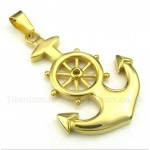 Titanium Gold Rudder Pendant with Free Chain
