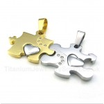 Titanium Gold Puzzle Couple's Pendant with Free Chain (One Pair)