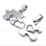 Titanium Puzzle Couple's Pendant with Free Chain (One Pair)
