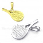 Titanium Feather Tennis Rackets Couple's Pendant with Free Chain (One Pair)