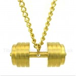 Gold Titanium Dumbbells Pendant with Free Chain