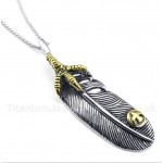 Titanium Feather Pendant with Free Chain