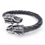 Chinese Dragon Head Leather Bracelet