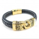 Titanium Gold-plated Leather Bracelet
